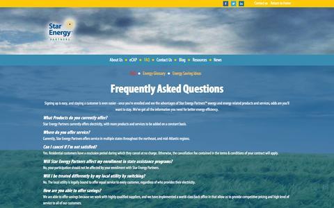 Screenshot of FAQ Page starenergypartners.com - FAQ | Premier Energy Company | StarEnergy - captured Oct. 9, 2014