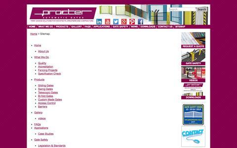 Screenshot of Site Map Page automatic-electricgates.co.uk - Procter Machineshop Guard & Machinery Guarding sitemap - captured Oct. 3, 2014