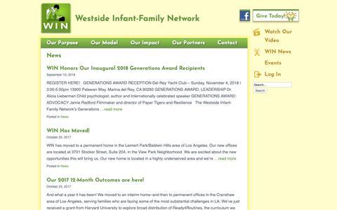 Screenshot of Press Page winla.org - News | Westside Infant Family Network - captured Oct. 20, 2018