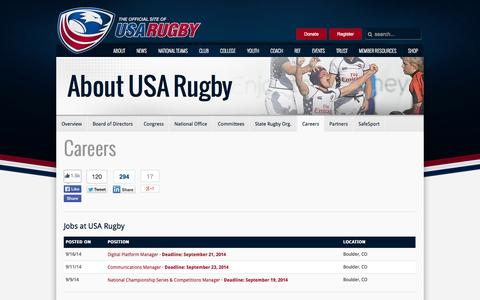 Screenshot of Jobs Page usarugby.org - USA Rugby Careers and Job Board - captured Sept. 19, 2014