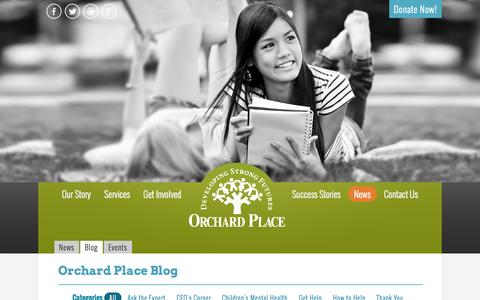 Screenshot of Blog orchardplace.org - Orchard Place Blog | Behavioral and Mental Health Topics - captured Oct. 9, 2014