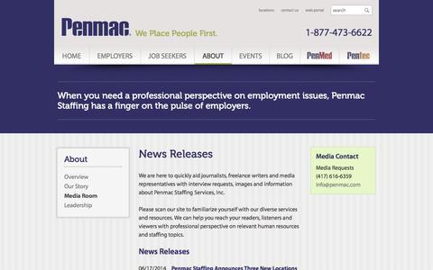 Screenshot of Press Page penmac.com - Media Room   Penmac Staffing - captured Oct. 2, 2014