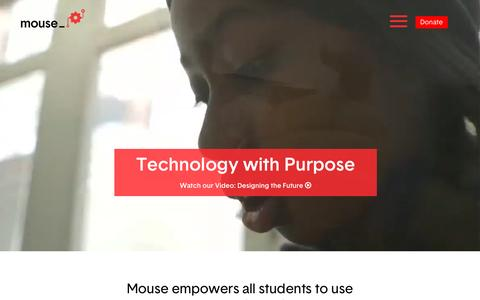 Screenshot of Home Page mouse.org - Mouse | Technology with Purpose - captured April 27, 2016