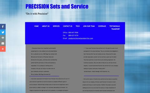 Screenshot of Testimonials Page precisionsetsandservice.com - TESTIMONIALS - captured July 20, 2018