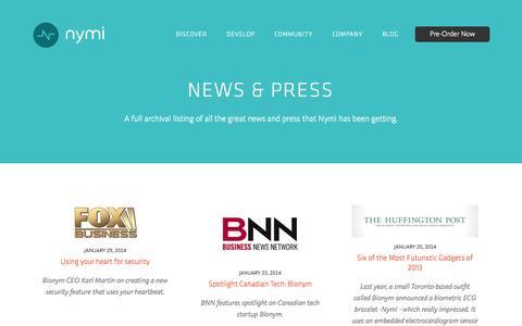 Screenshot of Press Page bionym.com - Nymi | News - captured Sept. 13, 2014