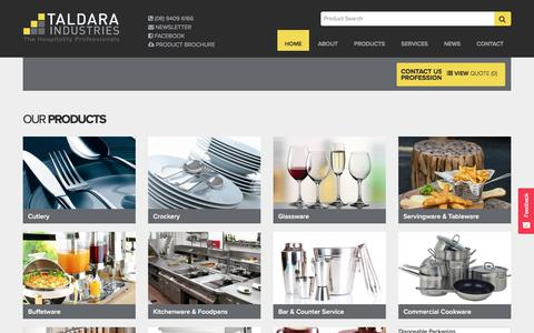 Screenshot of Home Page taldara.com.au - Disposable Food Packaging Perth | Cleaning Chemicals | Glassware Dispo - captured July 19, 2018