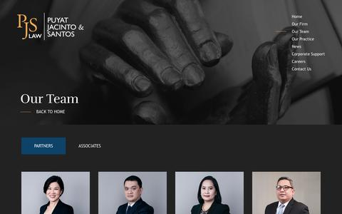 Screenshot of Team Page pjslaw.com - Our Team - PJS Law - Puyat, Jacinto & Santos Law - captured Sept. 30, 2018