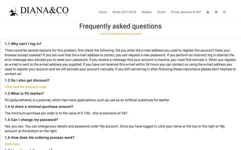 Screenshot of FAQ Page dianaco.eu - Frequently asked questions - Diana&co Firenze Ladies handbags and wallets - captured Oct. 19, 2017