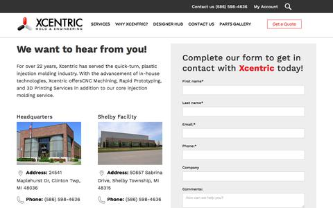 Screenshot of Contact Page xcentricmold.com - Contact Us | Xcentric Mold & Engineering - captured Aug. 15, 2019