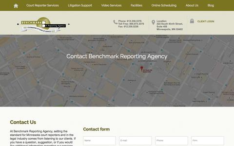 Screenshot of Contact Page benchmark-reporting.com - Contact Benchmark Reporting Agency   Benchmark Court Reporting - captured Oct. 10, 2017