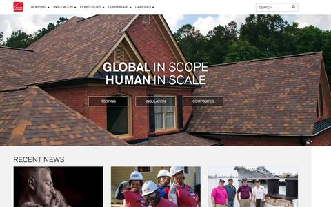Screenshot of Home Page owenscorning.com - Roofing, Insulation, and Composite Materials | Owens Corning - captured March 20, 2017