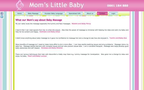 Screenshot of Testimonials Page momslittlebaby.co.za - Moms Little Baby > Contact > Testimonials - captured Oct. 7, 2014