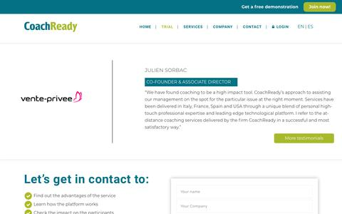 Screenshot of Trial Page coachready.com - Trial - CoachReady - captured July 19, 2018