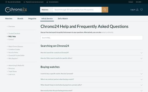 Screenshot of FAQ Page chrono24.com - Chrono24 - Info/Service - FAQ / Help - captured May 9, 2017