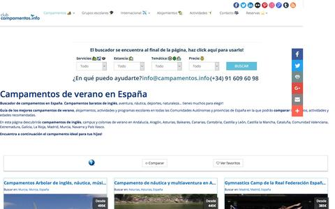 Screenshot of campamentos.info - Campamentos de verano en España - captured April 7, 2017