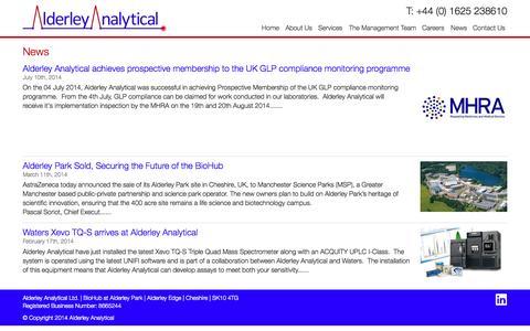 Screenshot of Press Page alderleyanalytical.com - News Archive » Alderley Analytical - captured Sept. 30, 2014