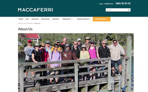 Screenshot of About Page maccaferri.co.nz - About Us - captured Nov. 2, 2014
