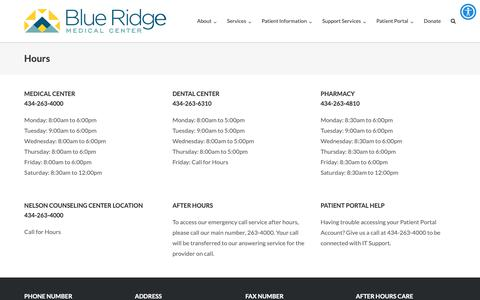 Screenshot of Hours Page brmedical.org - Hours - Blue Ridge Medical Center - captured Oct. 6, 2018