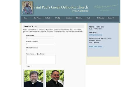 Screenshot of Contact Page stpaulsirvine.org - Contact Us - captured Sept. 30, 2016