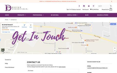 Screenshot of Contact Page designessentials.com - Contact Us   Design Essentials - captured May 10, 2017