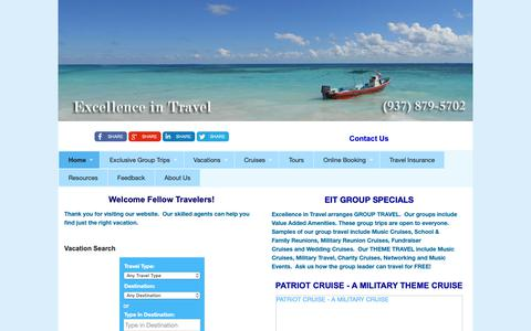 Screenshot of Home Page excellenceintravel.com - Home - EXCELLENCE IN TRAVEL - WE PUT THE 'EXCELLENCE' IN TRAVEL - captured Nov. 5, 2018