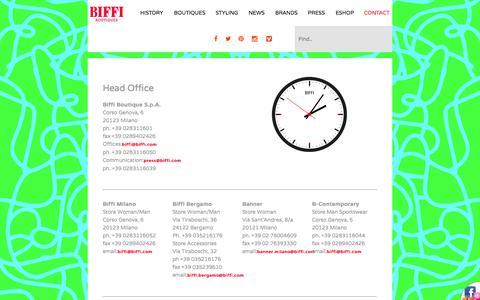 Screenshot of Contact Page biffi.com - CONTACT | Biffi - captured Oct. 5, 2014