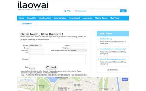 Screenshot of Contact Page Testimonials Page ilaowai.net - Contacts-IlaowaiGroup - captured Oct. 23, 2014