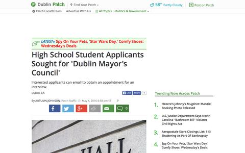 Screenshot of patch.com - High School Student Applicants Sought for 'Dublin Mayor's... - captured May 4, 2016