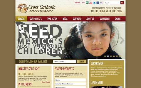 Screenshot of Home Page crosscatholic.org - Cross Catholic Outreach - captured Oct. 3, 2014