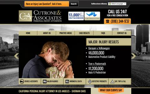 Screenshot of Home Page california-personal-injury-lawfirm.com - California Personal Injury Attorney in Sherman Oaks | Injury Law Firm - captured Feb. 2, 2016