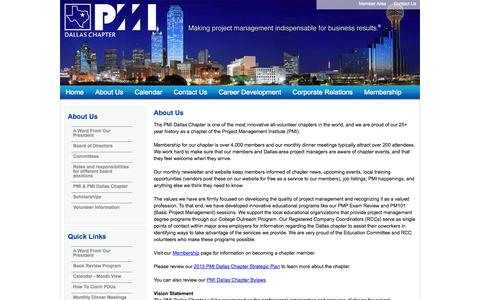Screenshot of About Page pmidallas.org - PMI Dallas Chapter - About Us - captured Sept. 27, 2014