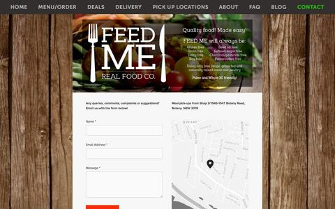 Screenshot of Contact Page feedmerealfood.co - contact — Feed Me - Real Food Co. - captured Oct. 5, 2014