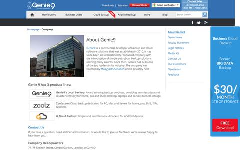 Screenshot of About Page genie9.com - Genie9: Company |Legal Notices| Offers a Wide Range of Backup, Restore, Disaster         Recovery and Online Backup Solutions - captured July 12, 2016