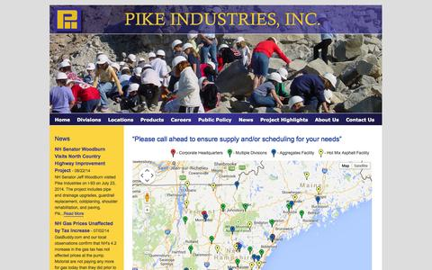 Screenshot of Locations Page pikeindustries.com - Pike Industries : Locations - captured Oct. 1, 2014