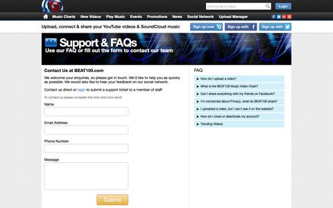 Screenshot of Contact Page Support Page beat100.com - Contact Us | Support | FAQ | BEAT100 - captured Sept. 27, 2018