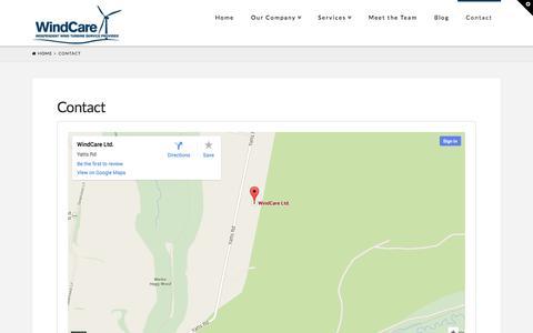 Screenshot of Contact Page windcare.co.uk - Contact   Windcare Ltd - captured Oct. 7, 2014