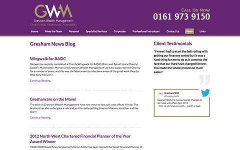 Screenshot of Press Page greshamwm.co.uk - Gresham Wealth Management News - captured Oct. 3, 2014