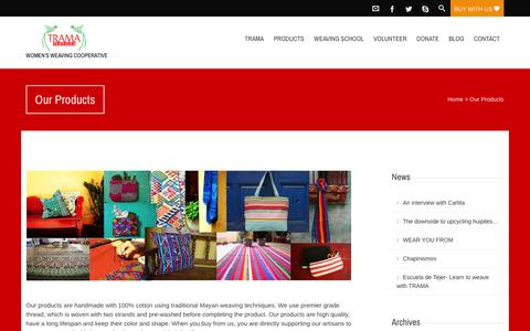Screenshot of Products Page tramatextiles.org - Our Products  Trama Textiles - captured Jan. 12, 2016