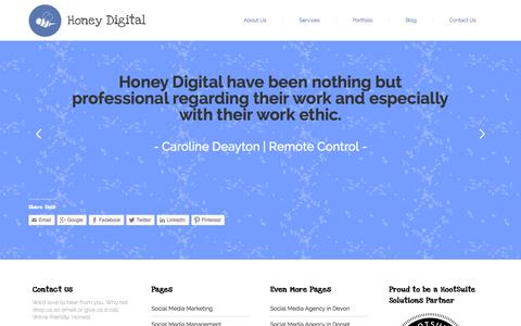 Screenshot of Testimonials Page honey-digital.com - Testimonials   Honey Digital Social Media & Digital Agency Surrey, Devon, Cornwall - captured Sept. 30, 2014