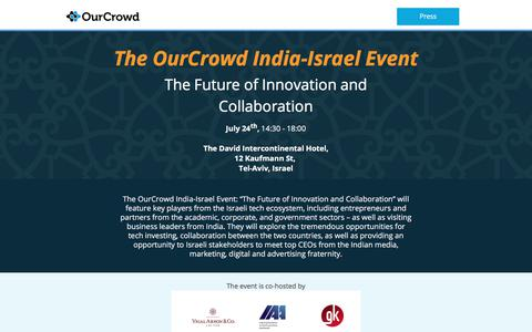 Screenshot of Landing Page ourcrowd.com - The OurCrowd Israel-India Event - captured Aug. 10, 2017