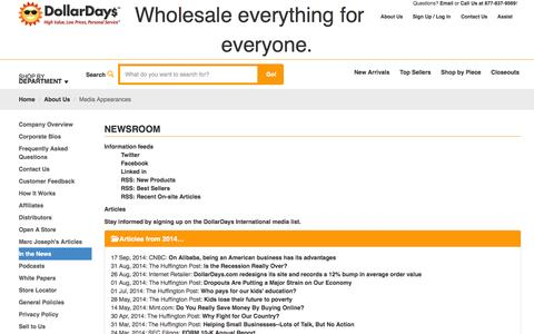 Screenshot of Press Page dollardays.com - Media Appearances - captured Sept. 18, 2014