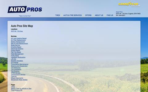 Screenshot of Site Map Page autopros.com - Auto Pros - Site Map - captured Oct. 16, 2016