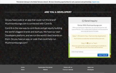 Screenshot of Developers Page mushroomlounge.com - Mushroomlounge.com - Developers - captured Feb. 17, 2016