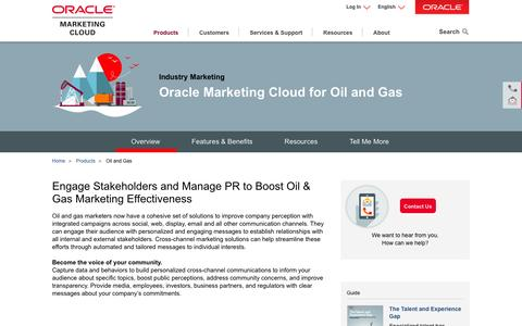 Screenshot of oracle.com - Oil and Gas | Industry Marketing | Oracle Marketing Cloud - captured April 14, 2016