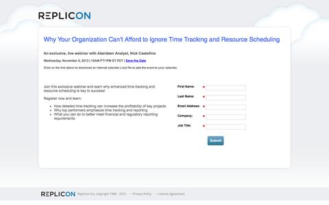Screenshot of Landing Page replicon.com - Exclusive Webinar: Why Your Organization Can't Afford to Ignore Time Tracking and Resource Scheduling - captured Aug. 18, 2016