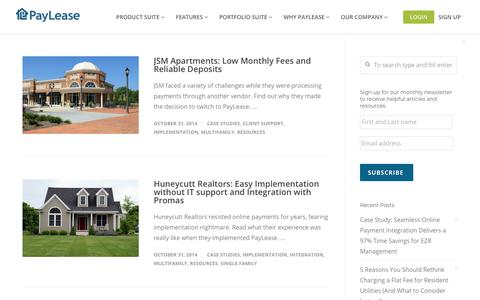 Screenshot of Case Studies Page paylease.com - Implementation | PayLease - captured Aug. 4, 2018