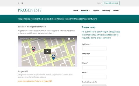 Screenshot of Products Page progensoft.com - Progenesis : Commercial Property Management Software - captured Sept. 9, 2017