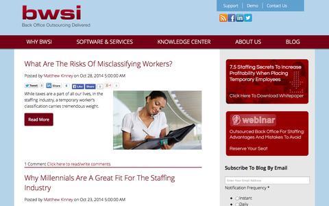 Screenshot of Blog bwsi.com - Staffing Industry Insider Tips, Insights And Information - captured Oct. 29, 2014
