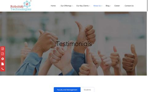 Screenshot of Testimonials Page robolab.in - Robolab Technologies Pvt. Ltd. | Robolab Testimonial - captured Oct. 19, 2018