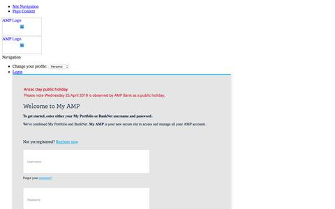 Screenshot of Contact Page amp.com.au - Support - Personal - AMP - captured April 25, 2018